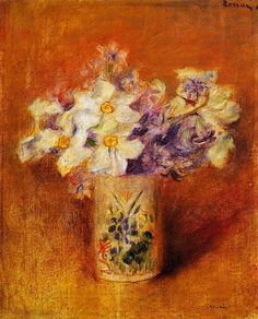Bouquet of Gadiolas, Lilies and Dasies, 1878 by Claude Monet. Impressionism. flower painting