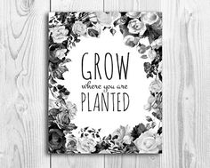 Printable Wall Art // Grow where you are planted // Black and White // INSTANT DOWNLOAD
