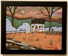 Dusky Farm ORIG Framed Canvas Panel PAINTING FOLK ART 8 x 10 Karla Gerard #FolkArtAbstractPrimitive
