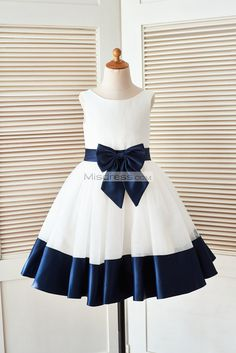 Ivory Satin Tulle Flower Girl Dress with Navy Blue BeltBow --- Misdress.com