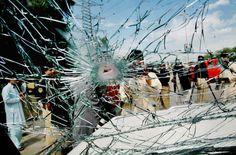 PESHAWAR: May 11, 2012- A view of damaged vehicle due to blast at G.T. Road near Chughulpura.