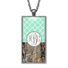 Mint Quatrefoil Camo Monogram Pendant Charm Necklace Personalized Country Girl Silver Jewelry