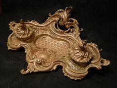 Grand encrier style Louis XV/Rocaille, en bronze, du XIXe