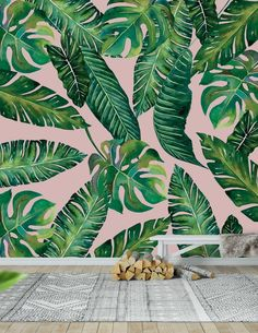 Pink Wallpaper For Walls, Pink Jungle Wallpaper, Salon Wallpaper, Pink And Black Wallpaper, Green Leaf Wallpaper, Office Wallpaper, Plant Wallpaper, Wallpaper Ideas, Plant Painting