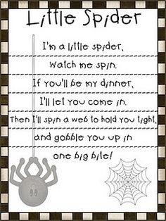 First Grade Fanatic!: Spider Poem First Grade Fanatic! Preschool Poems, Preschool Music, Kids Poems, Fall Preschool, Kindergarten Poems, Preschool Gymnastics, Kindergarten Graduation, Preschool Activities, Theme Halloween