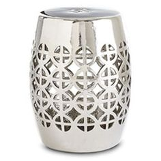 Geometric Garden Stool - Silver