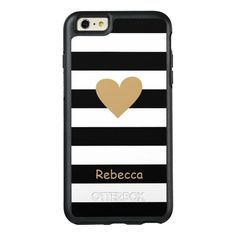 Gold Love Heart Black White Stripes Monogram Name OtterBox iPhone Plus Case - Enjoy this special day. Black White Stripes, Black And White, Mothers Day Flowers, Mothers Day Quotes, 6s Plus Case, Apple Iphone 6, Love Heart, Protective Cases, Gifts For Her