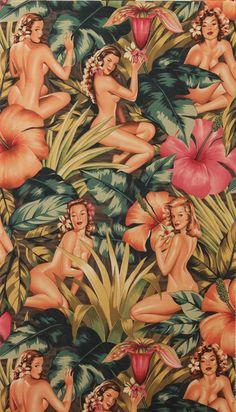 Tropical Hawaiian pin up girls