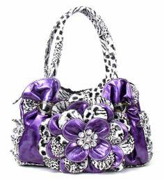 Purple Leopard Print Flower Rhinestone Fashion Purse Handbag Purse
