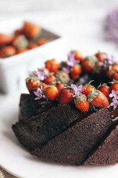This is an incredibly moist dark chocolate olive oil cake, flavored with a touch of espresso and topped with chocolate glaze and fresh strawberries. Recipe by Emily Laurae. #californiastrawberries #cakerecipe #strawberrycake #chocolatecake #bundtcake #chocolatebundtcake #darkchocolatecake #bakingathome #cakeinspiration #entertaining Chocolate Olive Oil Cake, Chocolate Bundt Cake, Chocolate Espresso, Chocolate Glaze, Food Photography Styling, Food Styling, Cupcake Cookies, Cupcakes, Classic Cake