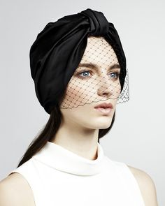 Jennifer Behr Full Turban with Voilette :: silk satin headpiece with French veiling, handmade in New York City Turban Outfit, Turban Hat, Turban Headbands, Hijab Style, Turban Style, Turban Mode, Royal Clothing, Diy Fashion, Turban Fashion