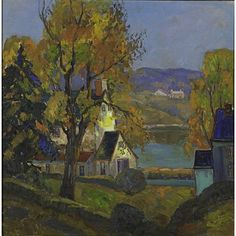 "Love seeing old paintings of our area, such beauty then and now. Lot# 36  Fern Isabel Coppedge (American, 1883 - 1951) Autumn, Bucks County Oil on canvas (framed) Signed 24"" x 24"" Provenance: Private Collection, Maryland Estimate: $35,000 - 40000 Fine Art, November 2012 Sale Price: $62,500"