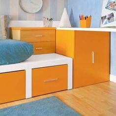 Dormitorio juvenil con zona de estudio: cama nido