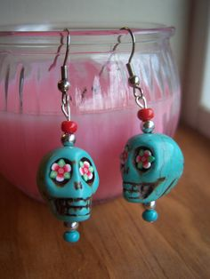 Turquoise Howlite Sugar Skull Earrings by Gypsyism on Etsy, $8.00