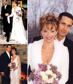 For her March 2001 wedding to investment banker Francis Greco in Toronto, actress Lauren Holly wore a sheer, beaded, bell-sleeved dress by Escada with fur-trimmed coat. She carried a bouquet of lilac-accented roses and accessorized with a 37-carat diamond Harry Winston cross necklace.