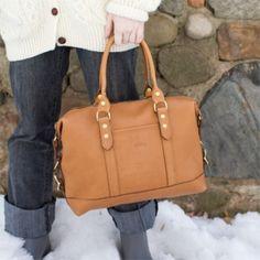【J.W.HULME】 Fairmount Satchel Handbag Caramel
