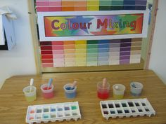 Colour Mixing classroom display photo - use sample cards to make background for board in the Creation Station School Displays, Classroom Displays, Classroom Setup, Eyfs Activities, Color Activities, Water Tray Ideas Eyfs, Creative Play, Creative Area Eyfs, Petite Section