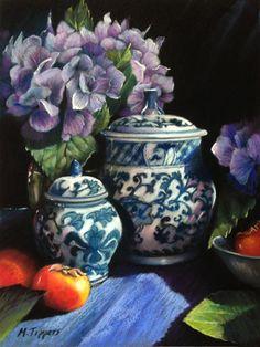 """Blue Hydrangeas by Marie Tippets Pastel ~ 12"""" x 9"""""""