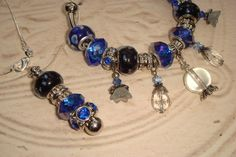 'Blue Crystal Ball Pandora Style Bracelet & Necklace' is going up for auction at  9pm Thu, Aug 30 with a starting bid of $20.
