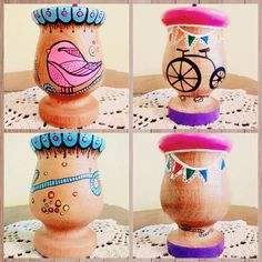 Buenas ideas, con extra onda! Painted Clay Pots, Stick Figures, Diy Clay, Terracotta Pots, Mole, Flower Pots, Crafts For Kids, Projects To Try, Pattern