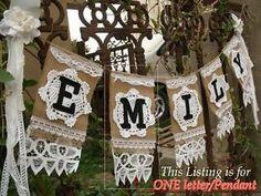 CUSTOM Wedding Burlap Banner VTG Lace Rustic Bunting SHABBY Rosette-ONE Pendant!