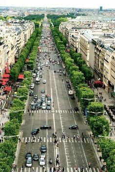 View of the Champs-Élysées from the Arc de Triomphe, Paris by SAburns