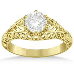 Allurez Filigree Milgrain Vintage Engagement Ring Setting 14k Yellow... ($625) ❤ liked on Polyvore featuring jewelry, rings, 14k yellow gold ring, gold band ring, vintage cocktail ring, vintage rings and gold engagement rings