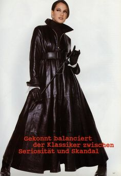 Designer Leather Fashions Claudia Mason in Gianfranco Ferre long leather coat from Fall 1992