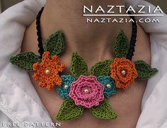 sarah crochê colar de flores padrão livre floral