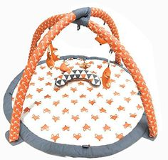 Bacati Playful Fox Activity Gym with Mat