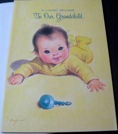 Unused Vintage Baby Card Cute Baby with Rattle Marjorie Cooper Card