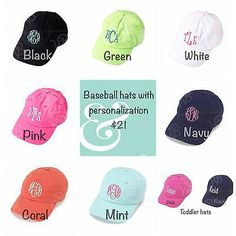 Personalized baseball caps womens and toddlers hats