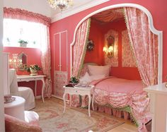 Girls bedroom - bed in its own draped alcove, semi-circle drape rod, white furniture