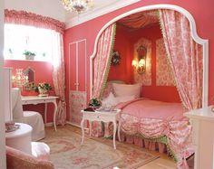 BEDROOM-GIRL Corset bed in its own draped alcove, semi-circle drape rod, white furniture