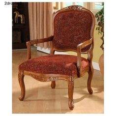 Solid-Oak-Chair-Old-French-Style-Living-Room-Arm-Chair-Den-Office-Modern-Royal