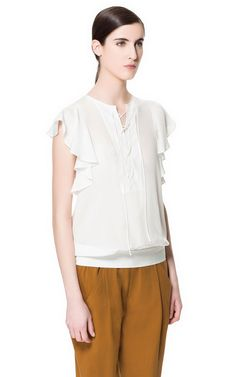TOP WITH FRILL AND LACES - Tops - Woman   ZARA United States