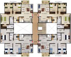 Arboleda del Campestre - Totumo - Constructora Bolívar Apartment Plans, Bedroom Apartment, Plans Architecture, Architecture Design, Residential Building Plan, Flat Plan, Architectural House Plans, Tutankhamun, Modern House Design