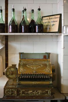 UK - London - Details of an antique cash register at Manze's Eel, Pie and Mash shop in Walthamstow,