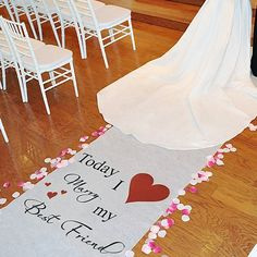 This wedding aisle runner features the sentimental phrase 'Today I Marry my Best Friend' accompanied by heart designs in your choice of 17 popular colors to compliment the bride's wedding gown.