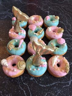 12 Beach Mermaid Theme Party Sweets Table Treats Sea Shell Mini Donuts Birthday Party Baby Bridal Wedding Shower Favors 12 Beach Mermaid Theme Party Sweets Table by SparklingSweetsShop Mini Donuts, Donuts Donuts, Party Sweets, Party Cakes, Donut Birthday Parties, Birthday Ideas, 5th Birthday, Themed Parties, 3 Year Old Birthday Party