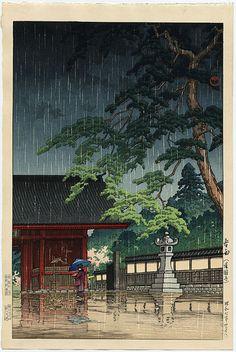 """""""Spring Rain at Gokokuji Temple, Tokyo"""" by Hasui, Kawase"""