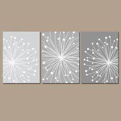 DANDELION Wall Art, CANVAS or Prints Gray Ombre Bedroom Pictures, Bathroom Artwork, Bedroom Pictures, Flower Dandelion Set of 3 Home Decor by TRMdesign on Etsy https://www.etsy.com/listing/249374122/dandelion-wall-art-canvas-or-prints-gray