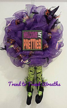 Whimsically Wicked Halloween Wreath by TrendtoTrendWreaths on Etsy, $75.00