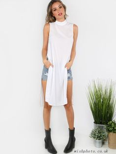 (2qgEIi)Collared High Slit Sheer Dress Top OFF WHITE-Blouses & Shirts - Click Image to Close