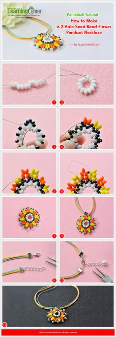 Tutorial on How to Make a 2-Hole Seed Bead Flower Pendant Necklace from LC.Pandahall.com             #pandahall
