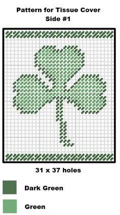 St. Patrick's Day Plastic Canvas Pattern - Irish at Heart Tissue Box Cover