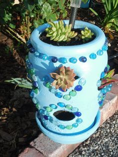 strawberry pot makeover, crafts, gardening, repurposing upcycling