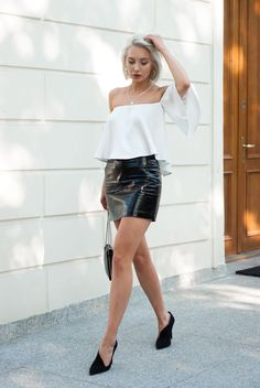 Black leather miniskirt outfit