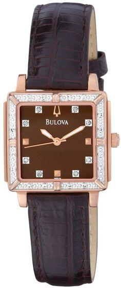 #Bulova #Watch , Bulova Women's 98R134 Brown Dial 24 Diamonds Strap Watch