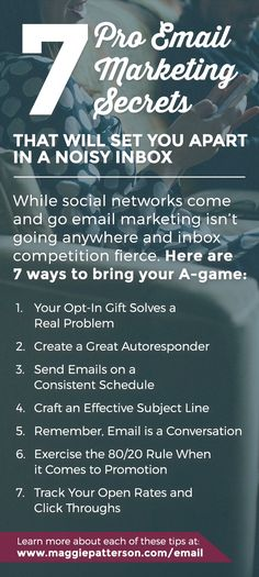 7 Email Marketing Secrets for Your Small Business // While you may personally be SO over email, not everyone else is. And if you're going to spend time marketing at all, your email marketing absolutely needs to be in the mix. Use these 7 pro email marketing secrets to stand out in a busy inbox with value-added emails that don't suck. Save this pin for later!
